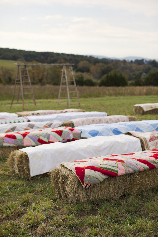 Quilt And Hay Bale Ceremony Seating