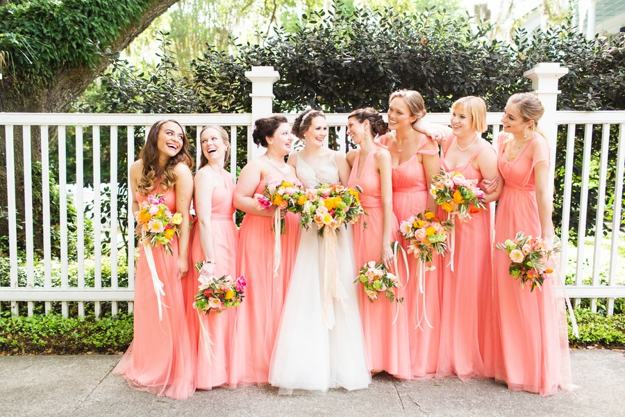 coral bridesmaid dresses Archives - Southern Weddings